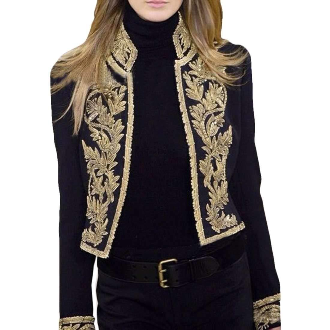 GRMO Women Long Sleeve Slim Fit Stand Collar Open Front Print Blazer Jacket
