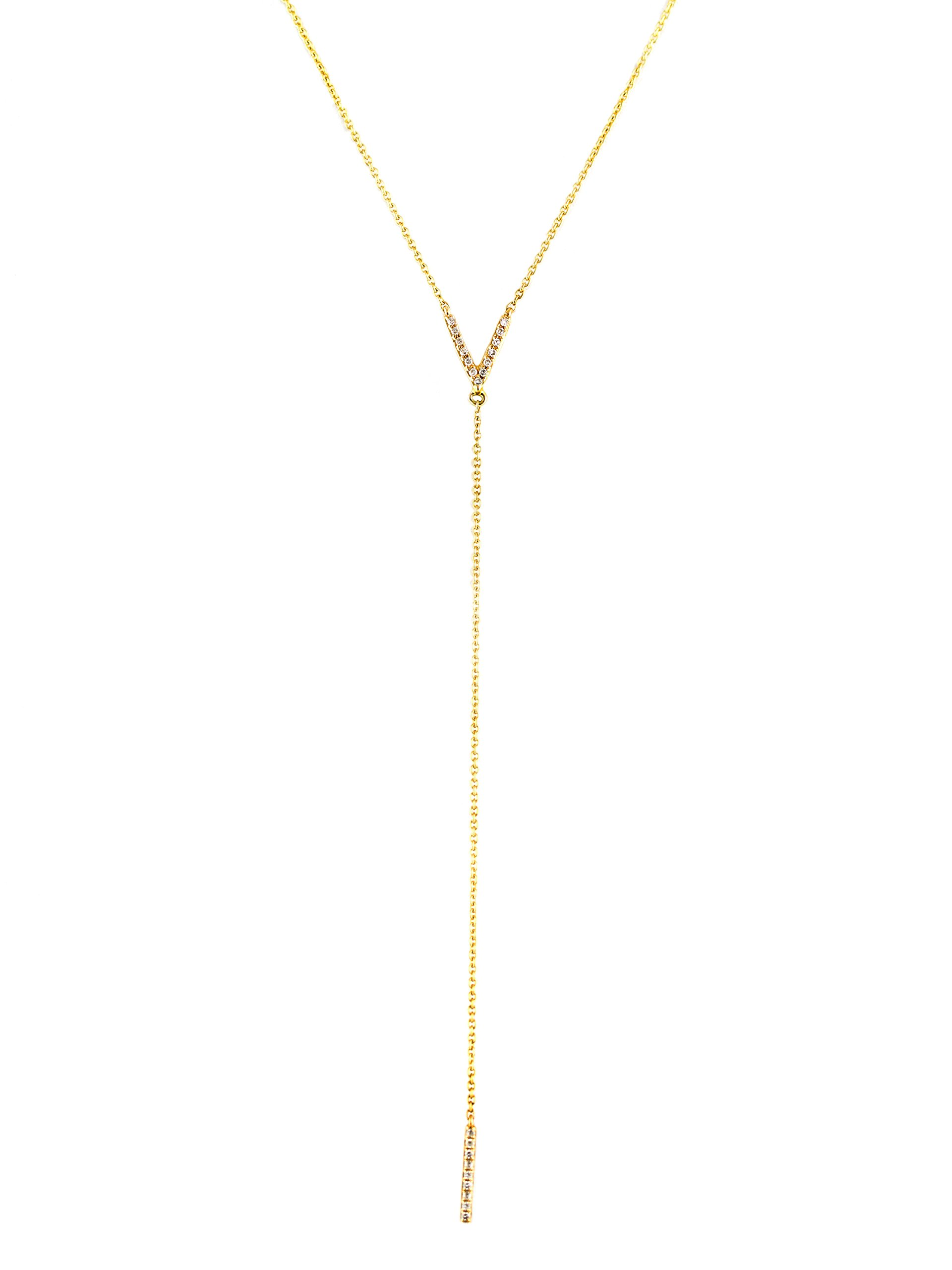 0.07ct Pavé Diamonds in 14kt Gold Letter V & Bar Drop Lariat Necklace (18, yellow-gold)