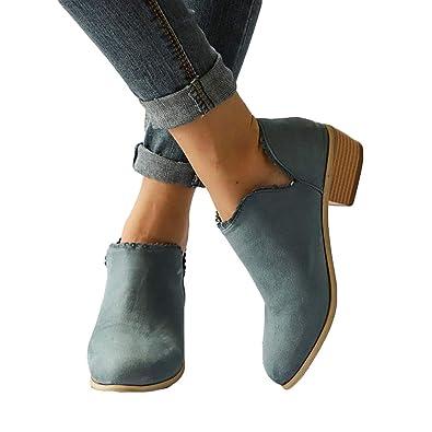Stiefeletten Damen Leder Wildleder Sommer Low Top Ankle Boots Blockabsatz  Stiefel mit Blockabsatz Elegant Schuhe Schwarz 2d367e5bdd