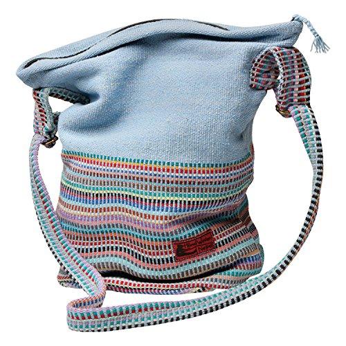 Hand Woven Sky Blue Bucket Bag - Yarn-Dyed Cotton Fair Trade Crossbody Purse