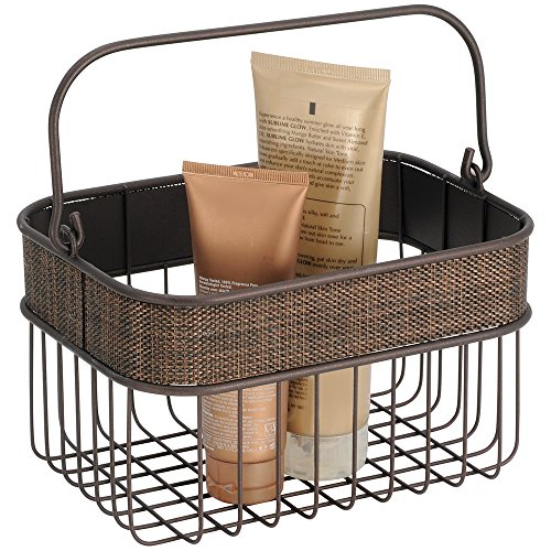 mDesign Household Wire Basket with Handle for Bathroom Storage - Bronze Photo #4