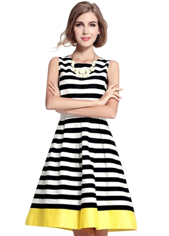 Feichen Frauen-Sommer-Sleeveless knielangen Striped A Line Kleid