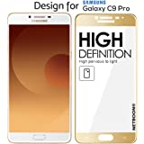NETBOON® Full Edge to Edge Coverage Gorilla Tempered Glass for Samsung Galaxy C9 Pro - Gold