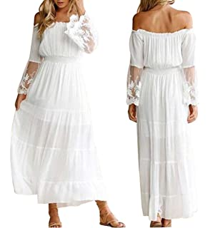 9f9b358ac4 Off The Shoulder Maxi Dresses for Women Off The Shoulder Long Sleeve Floral  Flowy Wedding Maxi