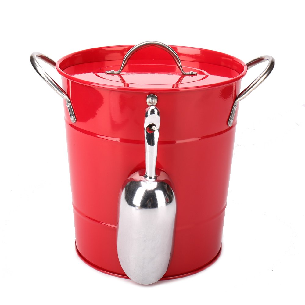 Home By Jackie T586 4L Red Metal Double Walled Ice Bucket Set With Lid And Scoop(red) KL 686