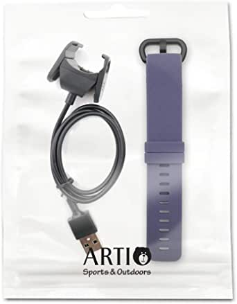 Artio for Fitbit Charge 3 Silicon Replacement Band Watch Strap Fitness Sport Band, and Charging Cable for Fitbit Charge 3 Advanced Fitness Tracker Watch Band and Charger Cable Cord Set (Blue Gray)