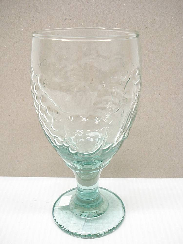 Vintage Light Green Apples & Grapes Water Glass