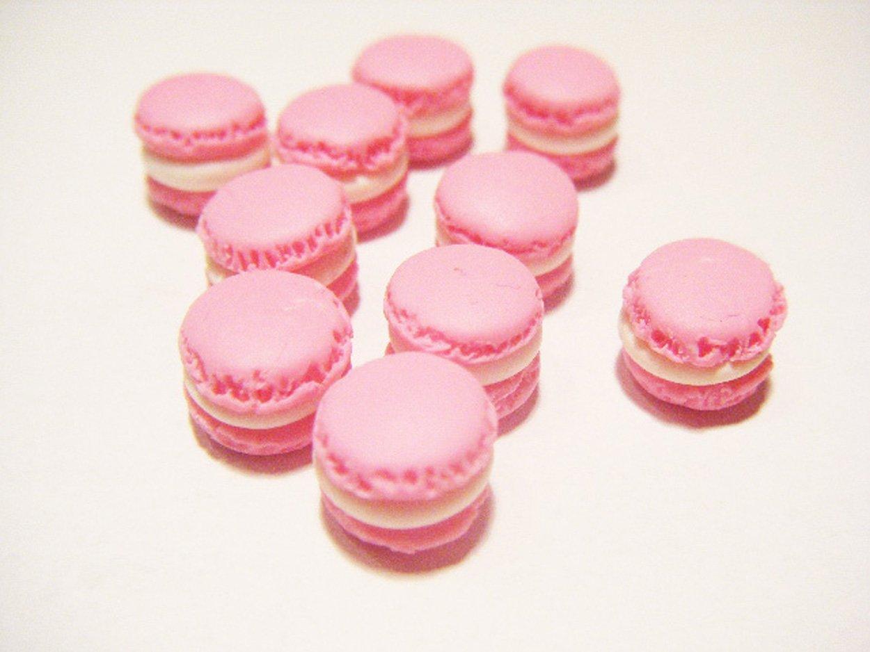 10 macarons miniatures en fimo pâte polymère pour fiole