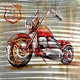 3D Wall Art,Route 66 Motorcycle,Oil Painting on Aluminum Panels with Wooden Frame