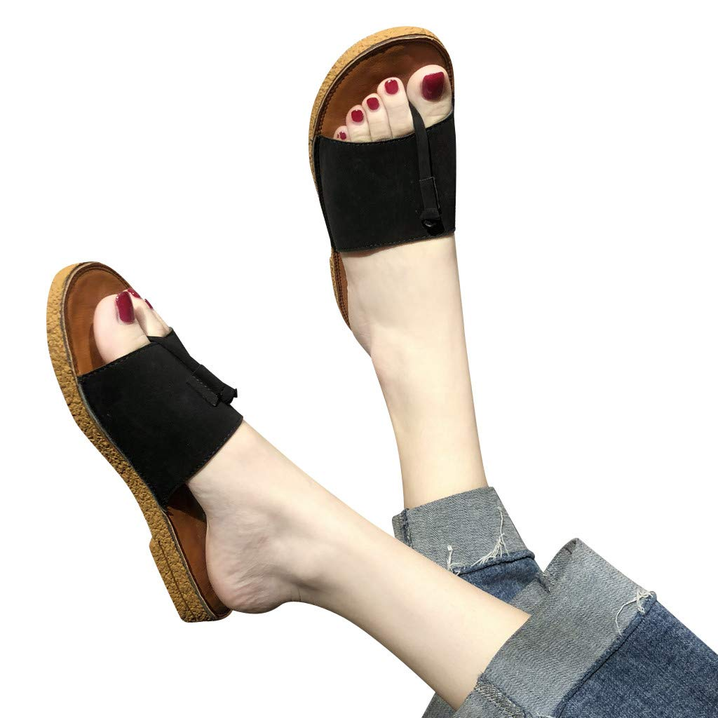 2019 Hot Women' Simple Solid Color Flat-Bottom Slippers Open-Toe Flip-Flops Fashion Summer Shoes Beach Shoes (Black, 5)
