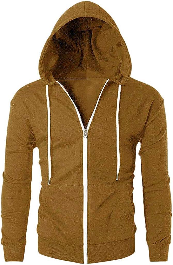 Qisc Mens Slim Fit Long Sleeve Lightweight Zip-up Hoodie with Pocket