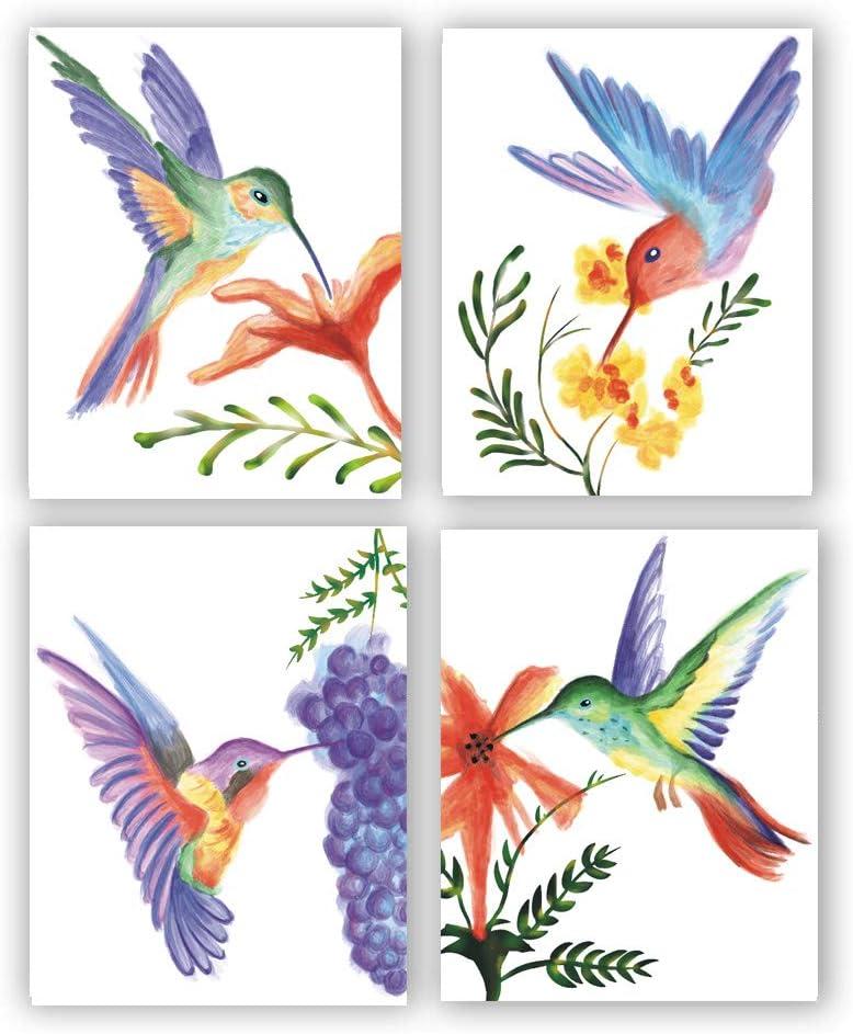 Watercolor Hummingbirds Flower Wall Art Print,Hummingbirds and Flower Canvas Painting , Hummingbird Wall Art Poster for Girl Room Bedroom Home Decoration,Gift(Frameless, 8
