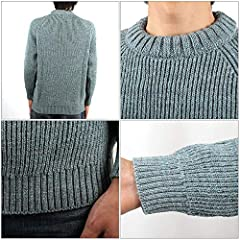 Kerry Woollen Mills Fisherman Rib Crew Neck Sweater KW018-005: Steel