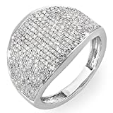 1.25 Carat (ctw) 14k White Gold Round Diamond Ladies Cocktail Right Hand Ring 1 1/4 CT (Size 8)