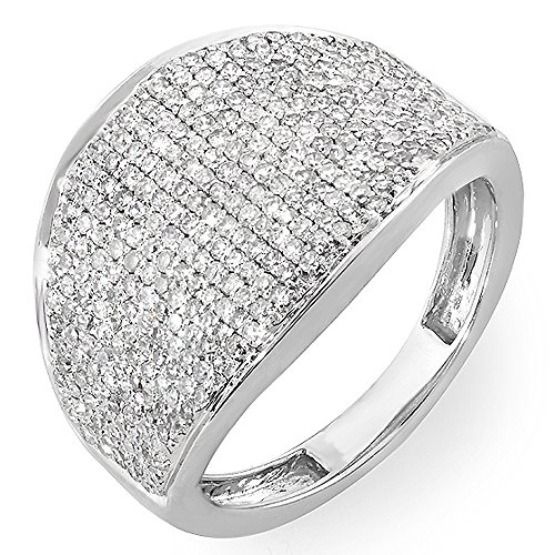Unique Right Hand Rings (1.25 Carat (ctw) 14k White Gold Round Diamond Ladies Cocktail Right Hand Ring 1 1/4 CT (Size 7))
