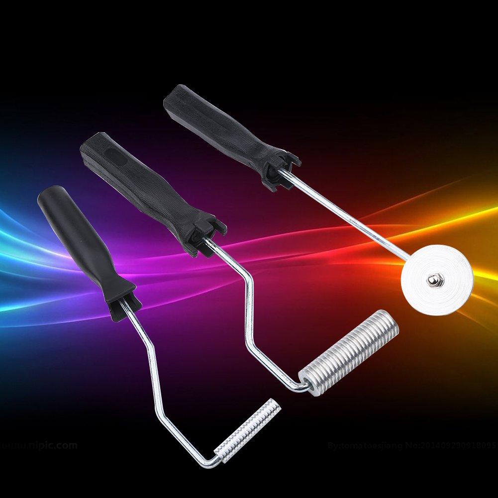 Yosooo 3Pcs/Set Fiberglass Roller Kit Aluminum Alloy Fiberglass Bubble Paddle Tool Laminating Roller Kit for FRP Mould Glass Paste Composite