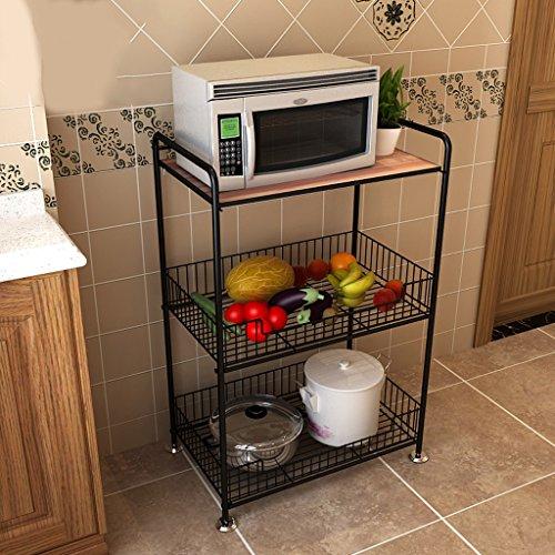 Kitchen racks Kitchen Storage Kitchen Shelve Floor-Standing Microwave Shelf Kitchen Supplies Shelf Storage Rack Metal 3-Layer (Color : Walnut)