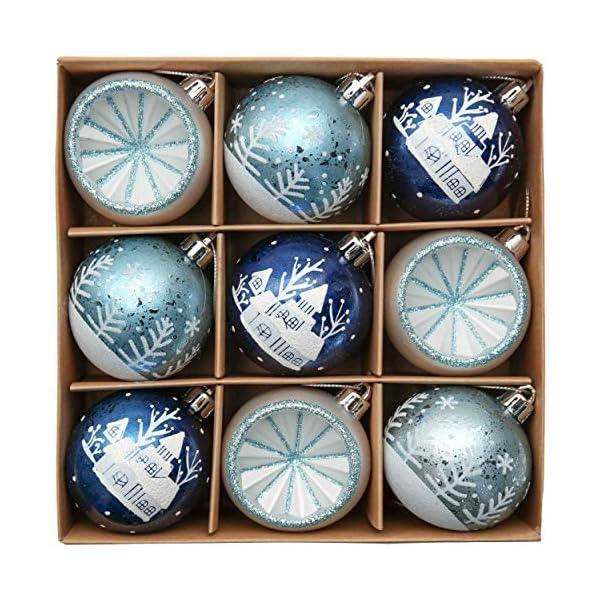 Valery Madelyn Palle di Natale 9 Pezzi 6cm Palle di Natale, Winter Wishes Argento e Blu Infrangibile Palla di Natale Ornamenti Decorazione per la Decorazione Dell'Albero di Natale 1 spesavip