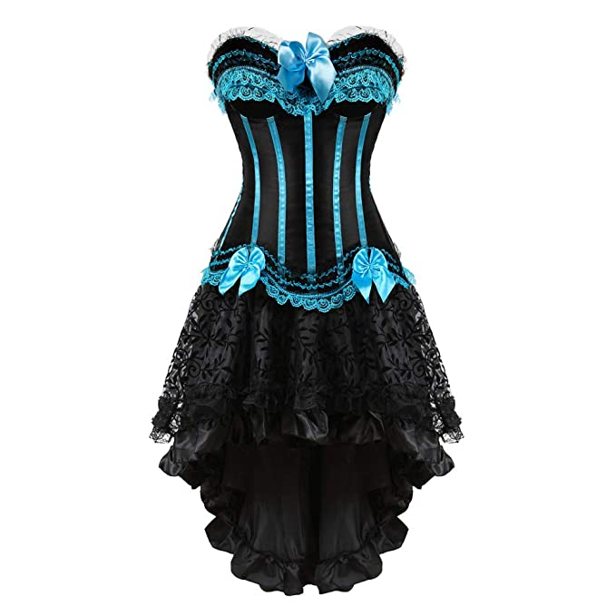 Saloon Girl Costume | Victorian Burlesque Dresses & History frawirshau Womens Peacock Style Lace Up Boned Corset Burlesque Lingerie $59.99 AT vintagedancer.com