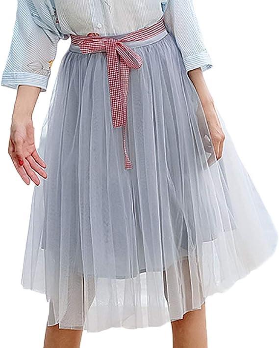 Falda Mujer Primavera Otoño Faldas Gasa Plisada Casual Colores ...