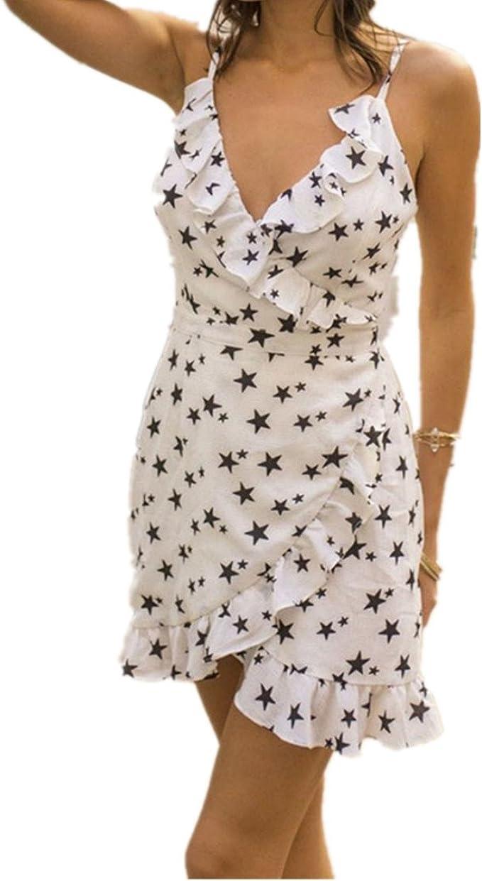 Kleid damen Kolylong® Frauen Elegant V-Ausschnitt Sterne Drucken