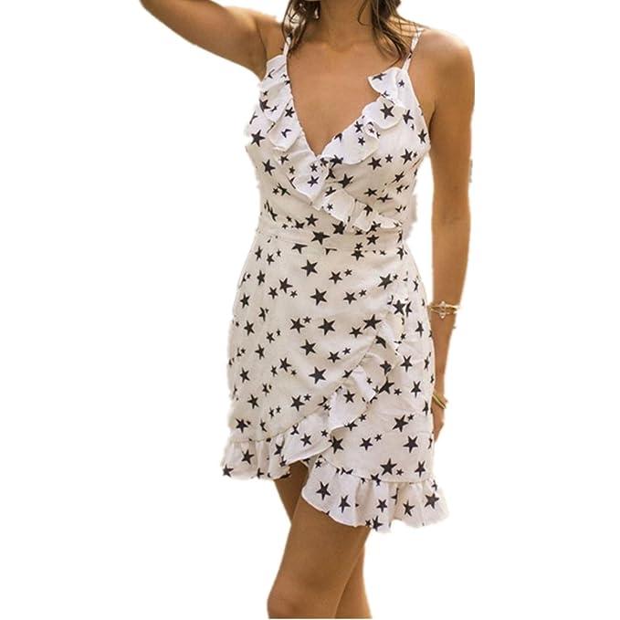 230977c7d145 Kleid damen Kolylong® Frauen Elegant V-Ausschnitt Sterne Drucken ...