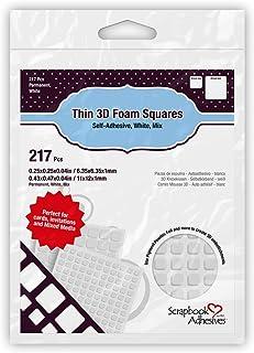 Scrapbook Adhesives by 3L, White 3L Scrapbook Adhesive Permanent Thin PreCut 3D Foam Squares, Mixed Variety, 217/pk, (1616)