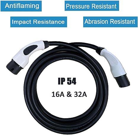Negro//Blanco Fase /única 32 A EV//PHEV Cable Adaptador de Carga para veh/ículo el/éctrico Tipo 2 a Tipo 1