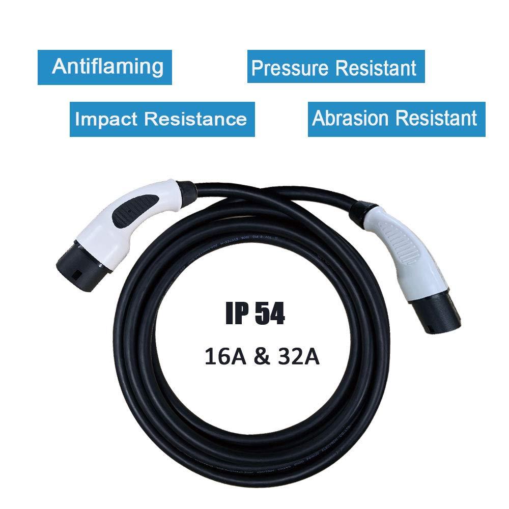 EV Cables de Carga Tipo 2 a Tipo 2 32A IEC62196-2 3 Phase 22KW EVSE Conectores de Carga para Veh/ículos El/éctricos K.H.O.N.S 5M//16.4 pies