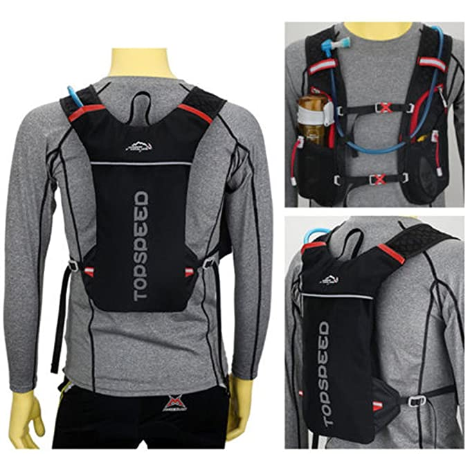 Amazon.com : Marathon Vest Style Water Bag Polyester Hydration Backpack Running Sport cycling. (Black) : Sports & Outdoors