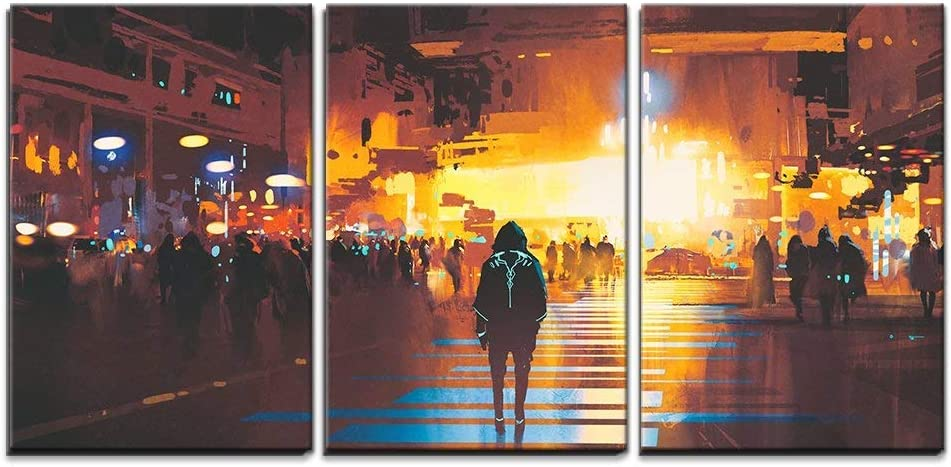 """wall26 - 3 Piece Canvas Wall Art - Man Standing on Street Looking at Futuristic City at Night, Sci-Fi Concept - Modern Home Decor Stretched and Framed Ready to Hang - 16""""x24""""x3 Panels"""