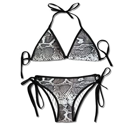 e505a0fabac27 Image Unavailable. Image not available for. Color: Fashion Women Snakeskin  Printing Sexy Two-Piece Bikini Set Beach Bathing Suit