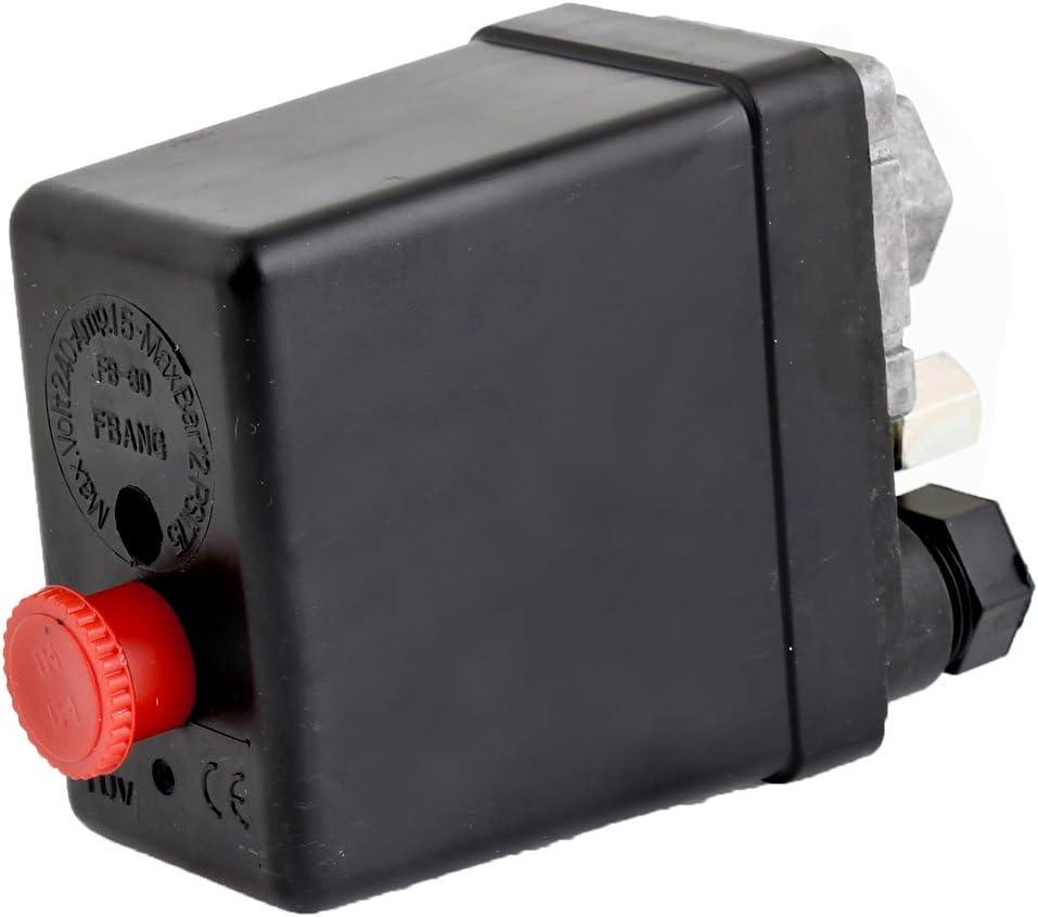 Sourcing Map Kompressor Druckschalter 240 V 175 Psi 12 Bar Kontrollschalter Schwarz De Baumarkt