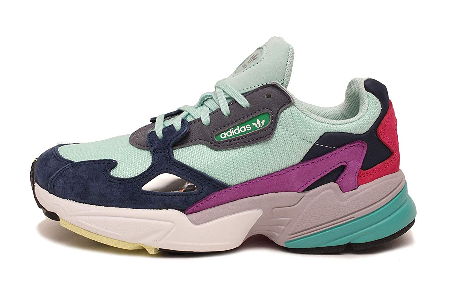 adidas Falcon Womens in Clear MintCollegiate Navy, 5.5
