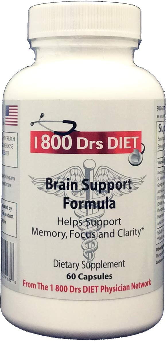 Premium Brain Supplement for Focus, Memory, Energy, Clarity - Naturopath Formulated for Optimal Mental Performance 60 Capsules by 1 800 DRS DIET