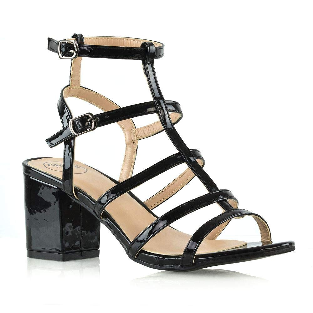 f31286dddfc5a ESSEX GLAM Womens Low Heel Sandals Strappy Ankle Strap Block Heel Cut Out  Evening Party Dress Shoes