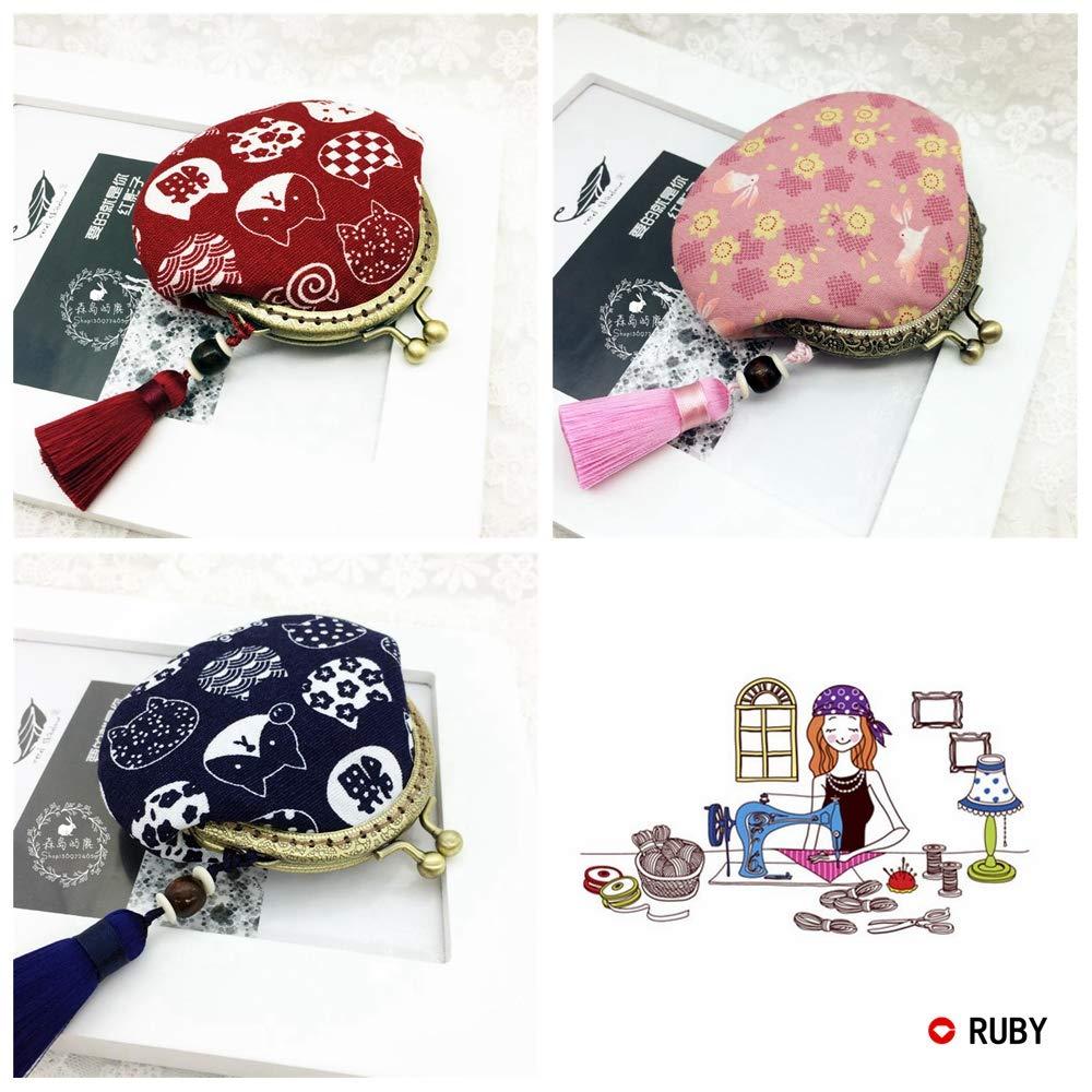 RUBY-4 Boquillas para bolsos y monederos Cierre de boquilla para bolso Cierre monederos boquilla de bolso para Patchwork (Bronce,9cm)