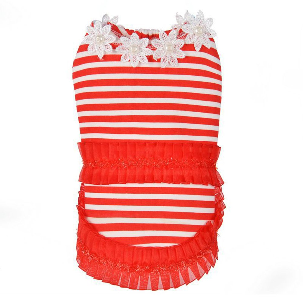 Red 16 yards   XL Red 16 yards   XL Puppy Pet Small Dog Clothes Fall Winter Warm Stripe Sweater Coat Lace Flower Trim Dress