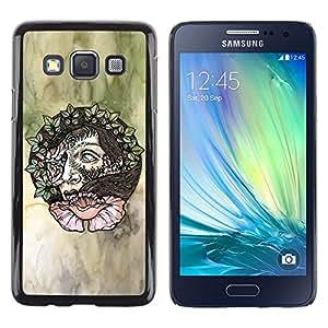LECELL--Funda protectora / Cubierta / Piel For Samsung Galaxy A3 SM-A300 -- Wreath Artistic Art Green Watercolor --