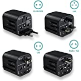 Travel adapter Worldwide All in One Universal Travel Adaptor Wall AC Power Plug Adapter Wall Charger with Dual USB Charging Ports for USA EU UK AUS(Black)