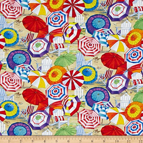 Elizabeth's Studio Beach Vista Umbrellas Sand Fabric by The Yard, Sand