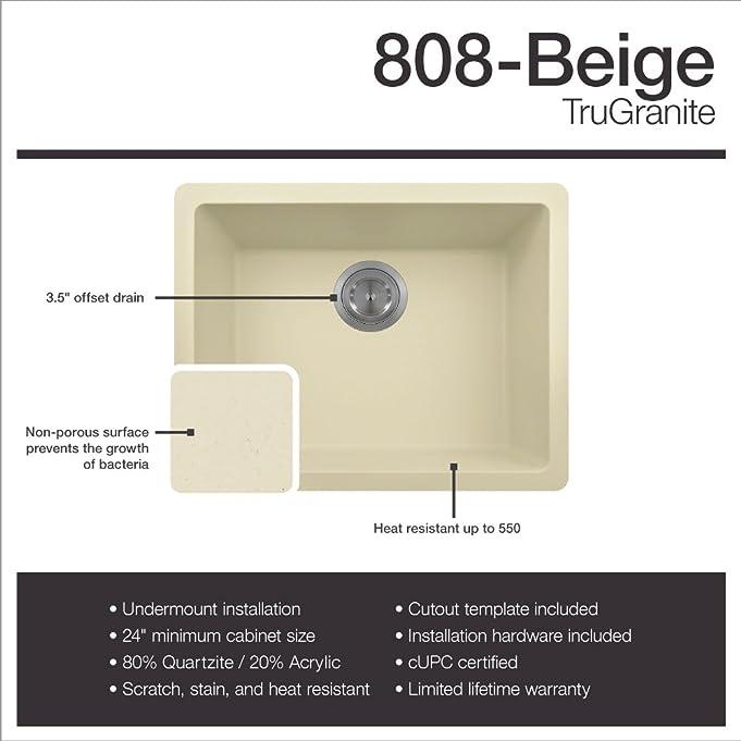 808 Beige Undermount Single Bowl Composite Granite Kitchen Sink   Granite    Amazon.com