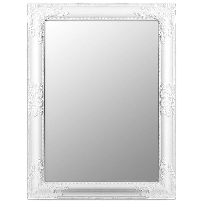 Wandspiegel 80x60cm Hängespiegel Flurspiegel Frisierspiegel Barock-Stil Weiß