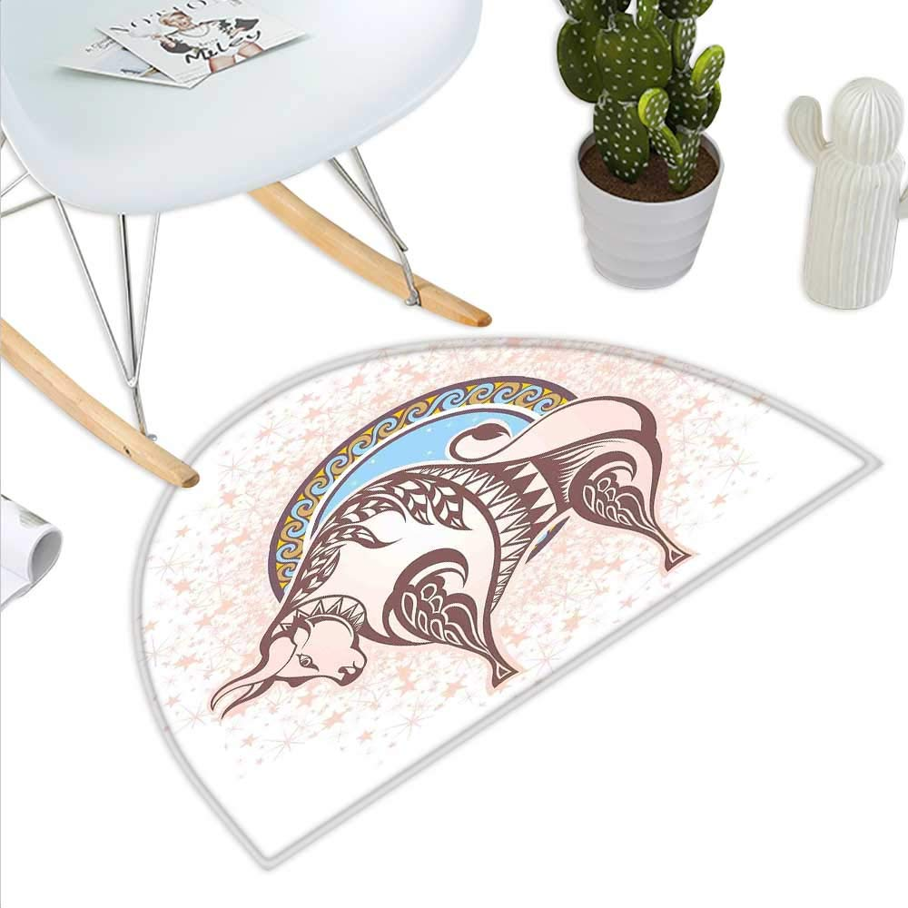 color02 H 19.7  xD 31.5  Zodiac Semicircular CushionCircular Zodiac Chart Apparent Position of Sun and Moon in Centre Pattern Print Entry Door Mat H 27.5  xD 41.3  Yellow Beige