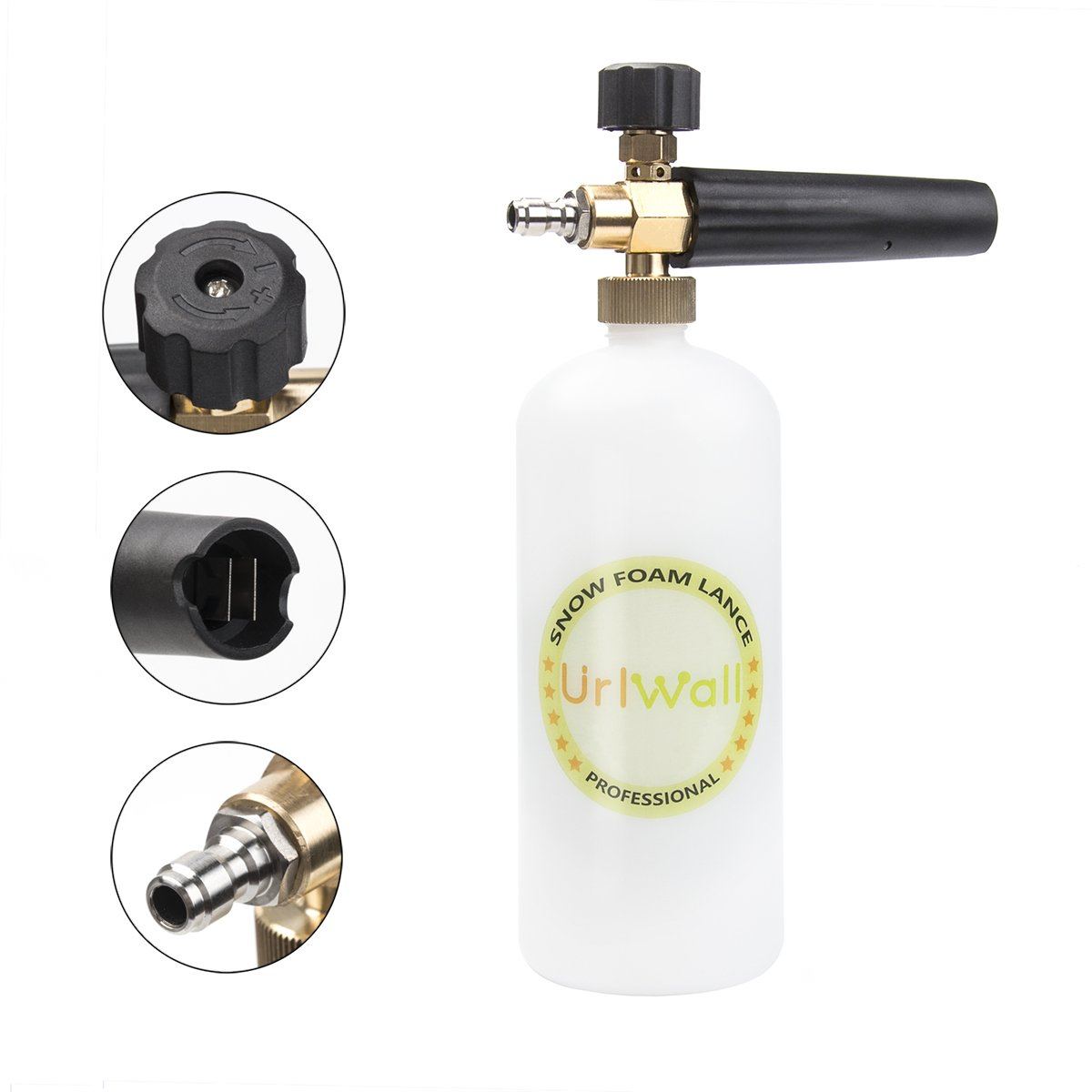 Adjustable Foam Cannon, URLWALL 1 Liter Car Wash Pressure Bottle Snow Foam Lance With 1/4 Quick Connector Foam Blaster for Pressure Washer Gun by URLWALL (Image #2)