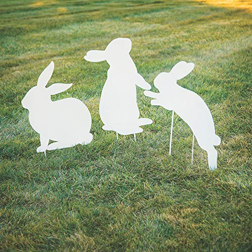 Fun Express - Silhouette Bunny Yard Stakes for Easter - Home Decor - Outdoor - Yard Art - Easter - 3 Pieces]()
