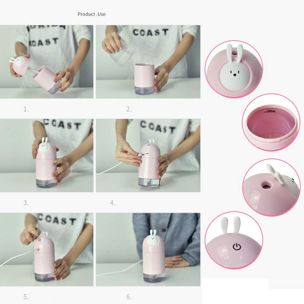 JUNFEI Animal Elf Humidifier 280mL Mini Cute Air Purifier Cartoon Desktop USB Portable Silent Atomizing Gift for Kids, Baby,Car, Home, Bedroom, Bedside,Office and Travel (RED)