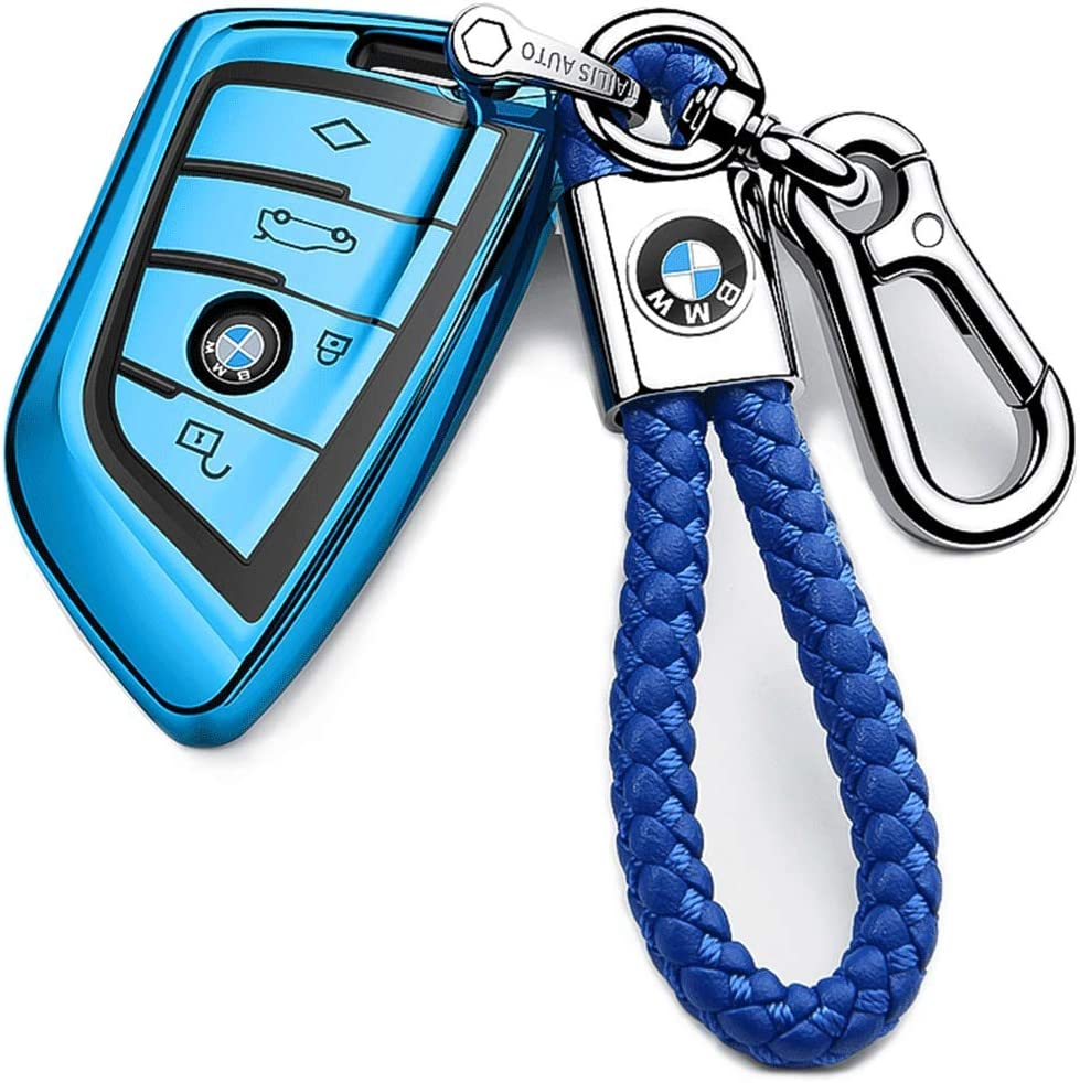 Car Key Cover Key Fob Cover Case suit for BMW 1 3 4 5 6 7 Series X3 X4 M5 M6 GT3 GT5 Remote Control Key Premium Soft TPU Anti-dust Full Protection ,With Key Chain/…