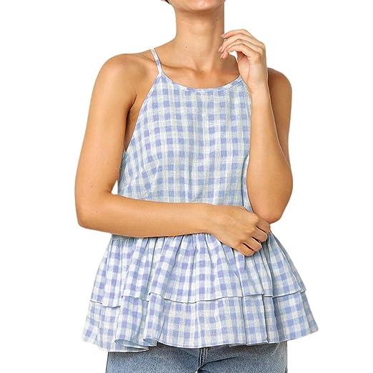 f2bf143de3030 Caopixx Summer Women Tank Tops Ruffles Halter Blouse Plaid Printed T-Shirt  Camis Vest (