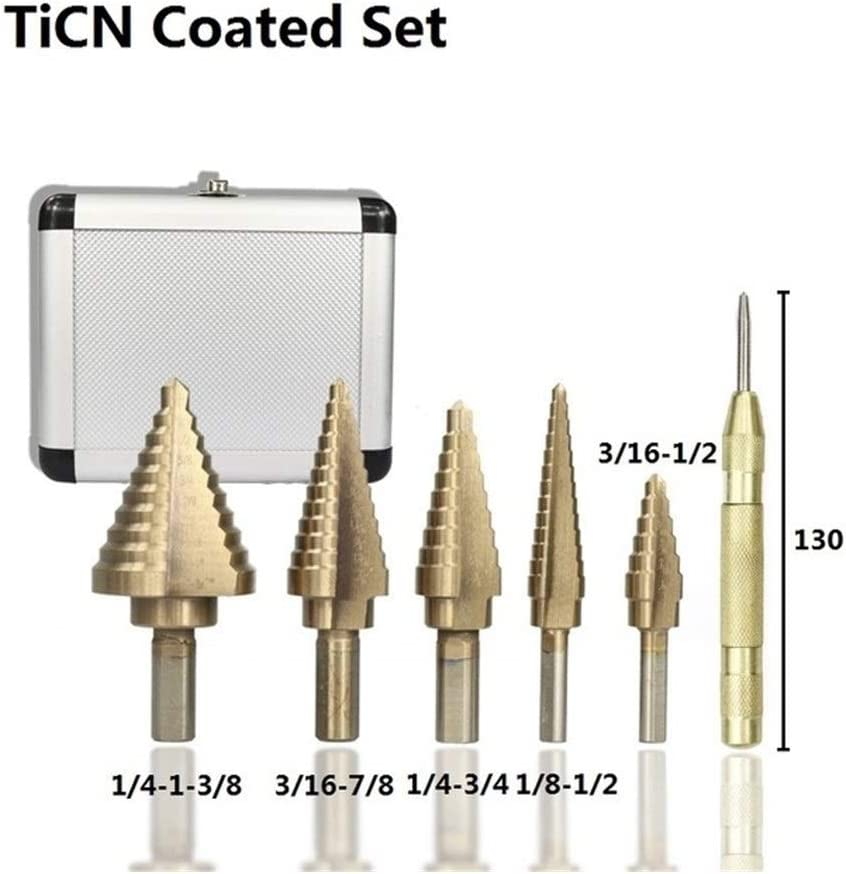 Hardware Drill Bit Porous Accessories, Punching Ac Stepped Drill Bit Set with Pagoda-Shaped Drill Bit with 130mm Center Punch Bit (Color : TiN Coated) Ticn Coated